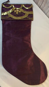 """Vickerman 8"""" x 19"""" Her Majesty Collection Stocking Burgundy With Golden Details"""