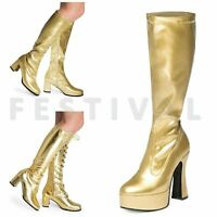 Womens Ladies Mens Gold  Knee High Eyelet Platform Disco Fancy Dress Boots