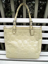 COACH 15245 Gallery Cream Embossed Patent Leather Tote Bag