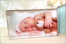 Hand Made Wooden Personalised Newborn Baby Photo Block Gift Present
