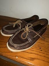 Sperry Top Sider Boat Deck Shoes Loafers Brown Genuine Leather Kids Boys Size 1