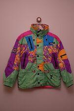 Vintage ASICS bright neon crazy print ski snowboard jacket size UK 12
