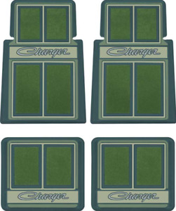"""OER 4 Piece Green Carpeted """"Charger"""" Floor Mat Set 1966-1978 Dodge Charger"""