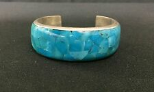Cuff Bracelet * Native American Indian Style *  Sterling-Turquoise/Inlay