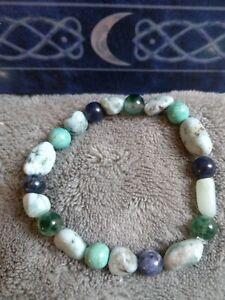 Panic attack disorder crystal healing bracelet Larimar turquoise sodalite