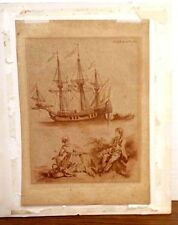 ANTIQUE ENGRAVINGS BROWN  SAILING SHIP RED SAILBOAT DATED 1780  WATERMARK PAPER