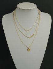 Bijou collier multi-rangs 3 chaînes pendentifs géométriques design doré