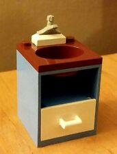 LEGO City Custom Furniture BATHROOM SINK Med Blue Brown White Drawer Gray Faucet