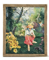 Vintage Oil Painting Woman in Flower Garden Signed 22x26 Impressionist Colorful