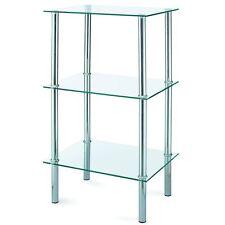 Glass Unit Shelf 3 Tier Clear Glass Corner Display Table Storage Stainless Steel