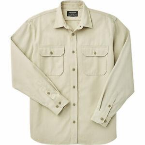 FILSON Chino Twill Mens Long Sleeve Button Up Shirt Cream NEW! $125 Small