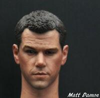 "1/6 Scale Matt Damon Head Sculpt Green Zone For 12"" Male Action Figure Body"
