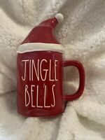 "RAE DUNN Holiday Christmas LL ""JINGLE BELLS'"" Red Mug With Topper By Magenta New"