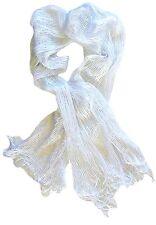 Foulard Blanc - Brillant - Lurex Argenté - Echarpe Ajourée