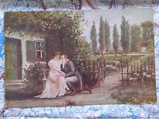 Paar Landschaft Haus Gemälde Kunstwerk Postkarte Ansichtskarte 3051