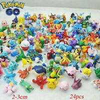 Random 24pcs Pikachu Pokemon Go Mini Pearl Figures Pocket Monster Toy Gift 2-3cm