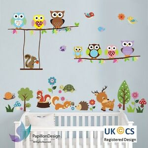 Woodland animal Owl squirrel Tree bird nursery Kid Baby wall Decal Sticker  Deco