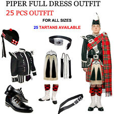 Piper Full Dress Outfit 25 Pcs Pipe Band Uniform Scottish Kilt Outfit Customized