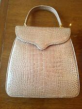 Lana Marks Alligator Leather Bag Handbag Beige NEAR MINT Princess Diana NM
