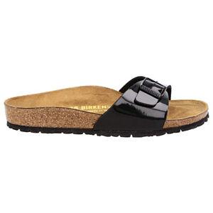 Birkenstock Madrid Patent Black Synthetic Womens Sandals