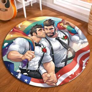 Comic US Gay Men Non-slip Yoga Mat Room Floor Crawling Round Carpet Area Rugs