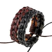 Bracelets en cuir tressé pour homme et femme