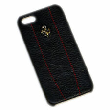 Ferrari iPhone 5 5S 5SE Black Leather & Stitching Case CG Mobile FEMO5MBLR New