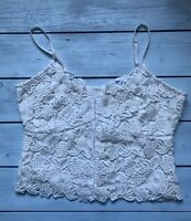 River Island Ivory White Guipure Floral Lace Strappy Crop Cami Top 10 - B16