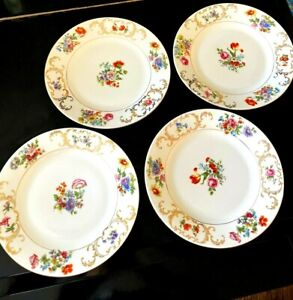 Victoria China Czechoslovakia Luncheon Plates 8 1/2 inch Lot of 4
