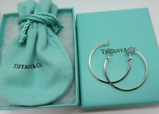 Authentic Tiffany & Co. 18K white gold T Wire Hoop Earrings Large size