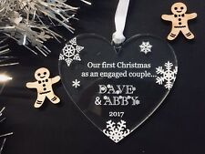 Personalised Engaged Mr & Mrs First Christmas Tree Decoration