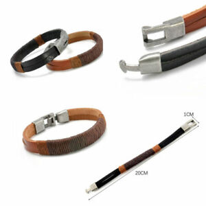 Surfer Men's Unisex Hemp Wrap Leather Wristband Bracelet Cuff Black Brown Bangle