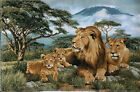 Gobelin Tapestry Textile Picture Big Cat African Lions Bastelnstoff 52x34