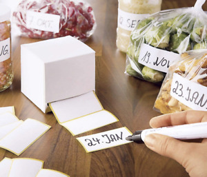 WENKO Super-Haftetiketten, 500 Stück, Klebestreifen für Tiefkühlbeutel