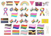 Rainbow LGBT Gay Pride Real GOLD Plated Pin Badges * Now 36 Different Designs *