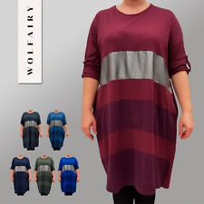 Italian Cotton Dress Tunic Lagenlook Shine Striped Long Sleeve Plus Size 18 - 24