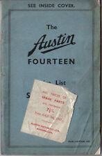 Austin Fourteen 14 original Price List Spare Parts 1936 Pub 1499 unillustrated