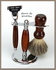 Shaving Razor Set Handmade Rare Snake Wood DE Safety Mach 3 Fusion 356