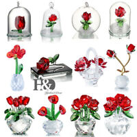 Crystal Red Rose Figurines Bouquet Flowers Collectible Art Glass Craft Home Gift