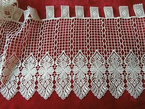 """PEICE of OFF WHITE SILKY LACE CAFE NET CURTAIN ~ 46"""" x 12"""" (117 x 31 cm) ~FLORAL"""