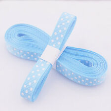 "5yds 3/8""(10 mm) Blue Christmas Ribbon Printed lovely dots Grosgrain Ribbon#"