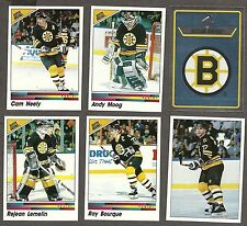 1990-91 Panini NHL Boston Bruins Team Set, 2 Bourque, Neely, Moog, Lemelin...
