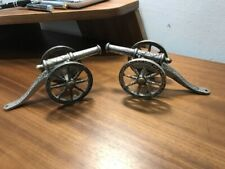 Vintage Pair Of Desktop English Silver Plate Field Canons With Movable Parts