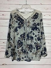 Pleione Anthropologie Women's L Large Ivory Floral Lace Long Sleeve Top Blouse