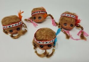 Lot 4 VTG Vinyl Craft Doll Heads Redhead Indian Native American Girl Anime Eyes