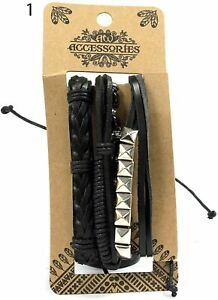 MBS-03 Set Of 4 Mens Bracelets, Black and Macho Selection (1)