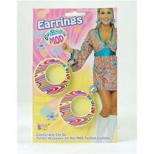 60's Ladies Mod Swirl Earrings - 60s 70s Swirls Earings Fancy Dress Costume