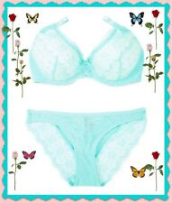 34B New York Elegance Blue Aqua Lace PushUp UW Bra S Ruched Bikini 2pc Set $50