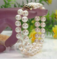 NEW 2 ROW AAA 9-10 MM NATURAL WHITE SOUTH SEA PEARL BRACELET 14K Gold Clasp