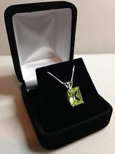 "BEAUTIFUL 3ct Bright Green Peridot Sterling Silver Necklace Emerald Cut 18"" NWT"